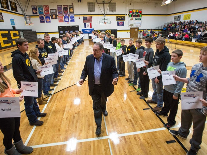 Republican presidential candidate Mike Huckabee visits
