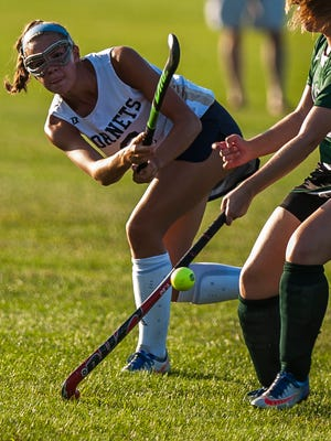 Essex's Jenna Puleo winds up for a shot on goal and the score in this Sept. 2017 action shot. Puleo, a senior, has been named the Free Press field hockey player of the year for the second straight season.