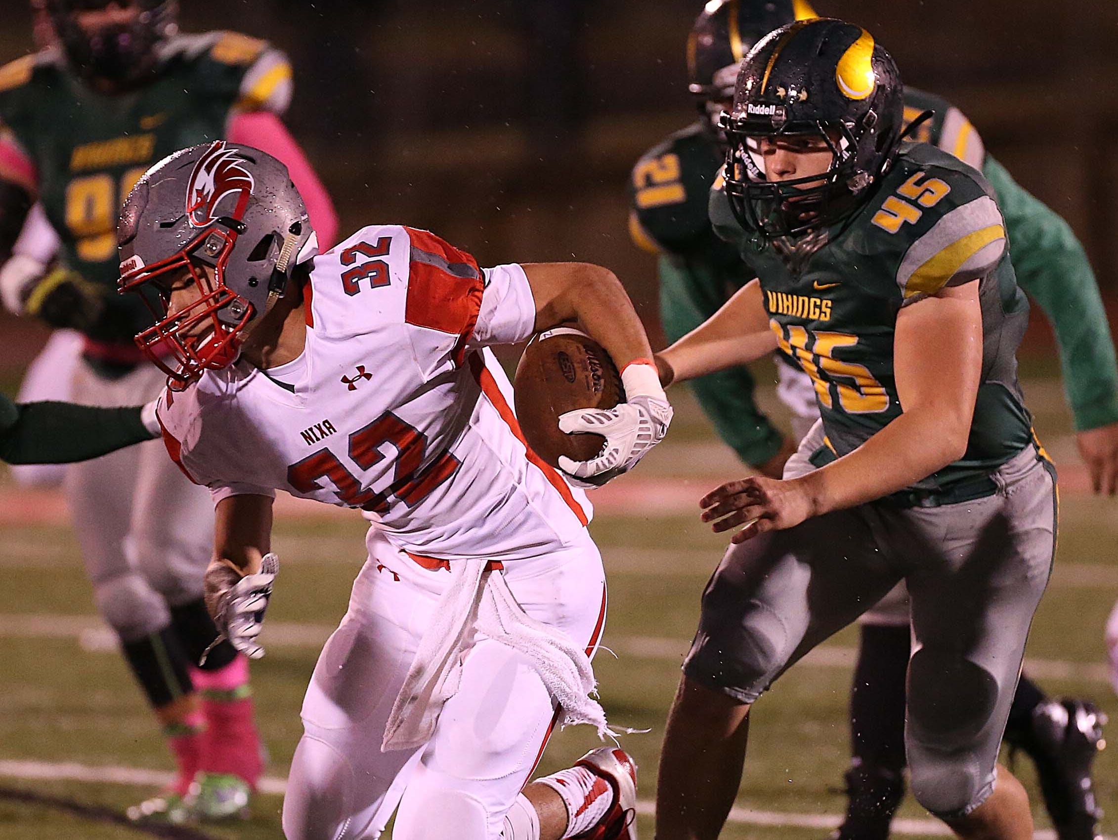 Nixa's Nicos Oropeza advances the ball during his team's visit to Parkview on October 30, 2015.