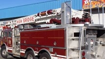 This ladder truck originally from High Bridge, N.J., is being refurbished and repainted in Californina but should arrive in Yerington next month.