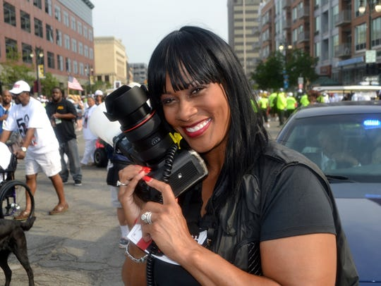 This file photo shows photographer Monica Morgan, widow