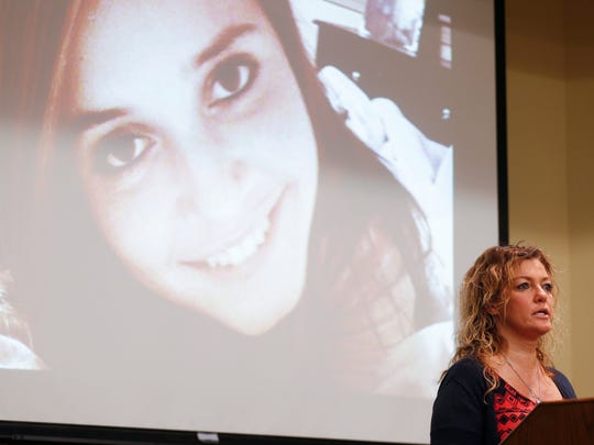 In this file photo, Julie Oziah-Gideon talks about her daughter Samantha Huntley, who died from an overdose in September of 2017. Oziah-Gideon will throw the first pitch at the Springfield Cardinals Game on Aug. 31.