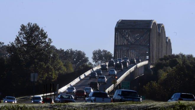 Traffic flows on the Shreveport side of Jimmie Davis Bridge.