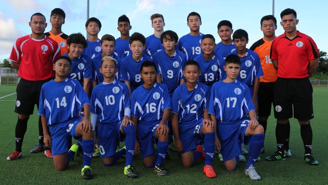 Guam will be represented at the 2015 soccerloco Surf Cup soccer tournament this weekend in San Diego, Calif. with a team competing in the boys' under-15 division. In the photo are, from left: (bottom row) Micah Hennegan, Leon Morimoto, Shaun-Paul Martinez, Matthew Iseke and Kainoa Ferguson; (middle row), assistant coach/goalkeeper coach Joseph Laanan, Shane Larkin, Benjamin Sweeney, Michael Lee, Anthony Moon, Mark Iseke, Robert Niu and head coach Dominic Gadia; (back row) James Lee, Kyle Halehale, Alan Thomas, Ethan Elwell, Samuel Quan, Noah Bamba, and Kaito Atsuta. Not in the photo are Noah Jaye and Niclas Vavra, who will be meeting the team in San Diego. The tournament begins Saturday in San Diego and continues through to Sunday. The under-15 boys' division includes club teams from California, Illinois, Arizona, Washington, Nevada and Hawaii and a team from Mexico. The tournament, which has been in existence for close to four decades, is regarded as one of the United States' top two youth tournaments, attracting thousands of spectators, including more than 450 college coaches and scouts.