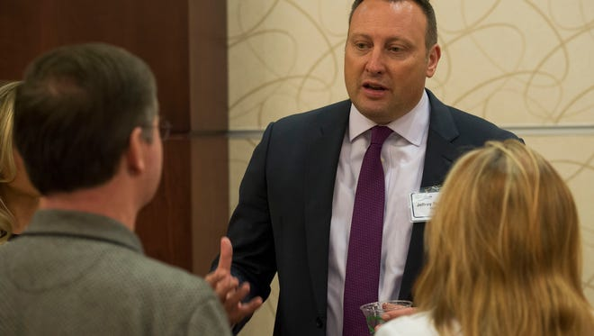 Police chief at the Elgin (Illinois) Police Department Jeffrey Swoboda speaks with audience members at a city-hosted public meet and greet with Fort Collins Police Services police chief finalists on Thursday, March 1, 2018, at The Lincoln Center in Fort Collins, Colo.