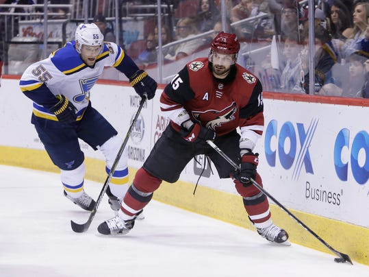 Arizona Coyotes center Brad Richardson (15) shields St. Louis Blues defenseman Colton Parayko from the puck in the second period during an NHL hockey game, Saturday, March 31, 2018, in Glendale, Ariz. (AP Photo/Rick Scuteri)
