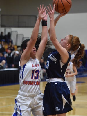 Pine Plains' Frances Snyder takes a shot over S.S. Seward's Alexa Reach during Thursday's Section 9 Class C final held at Mount Saint Mary College in Newburgh.