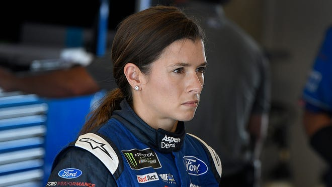 Monster Energy NASCAR Cup Series driver Danica Patrick (10) in her garage during practice for the Brickyard 400 Saturday, July 22, 2017, morning at the Indianapolis Motor Speedway.