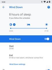The Wind Down setting in Google Pie.