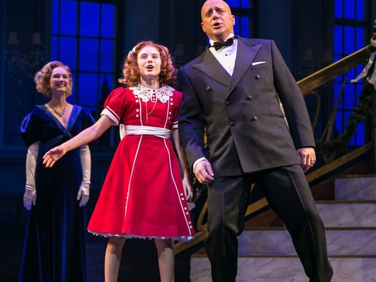 """From left, Erin Mackey, Cassidy Pry and Christopher Sieber. As Daddy Warbucks, Sieber blends brusqueness with personal affection — along with a lively Jolson impersonation in """"I Don't Need Anything But You."""""""