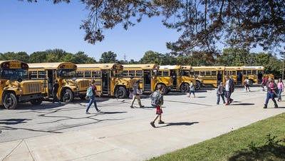 Southside Middle School students leave at dismissal in September 2015.