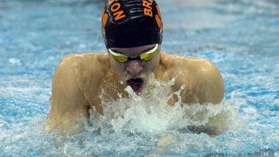 Brighton's Drew Panzl won the 100-yard breaststroke on Saturday at the Lakes Conference swim meet while also setting a new school record in the 200 IM.