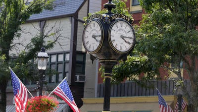 Tanya Breen/staff photographer Millennium Clock is a well-known landmark in the downtown business district on Waverly Place at Main Street in Madison. Millennium Clock is a well known landmark in the downtown business district on Waverly Place at Main Street in Madison, NJ Tuesday July 12, 2016.