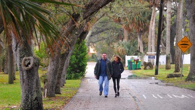Michelle and Bill Maricic, long time residents on Rockledge Drive, are upset that the county is going to prune and remove the lives oaks that line the road, forming a scenic tunnel of trees. The route is popular for its scenic canopy to cyclists, walkers, races and drivers.