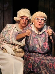 "Joe Aiello, left, and Scott Burkell star in ""Red, White & Tuna"" at Barn Theatre."