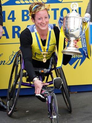 Tatyana McFadden after winning the women's wheelchair division of the 2014 Boston Marathon.