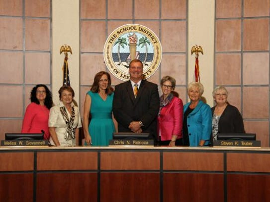 Lee County school board members, from left, Melisa
