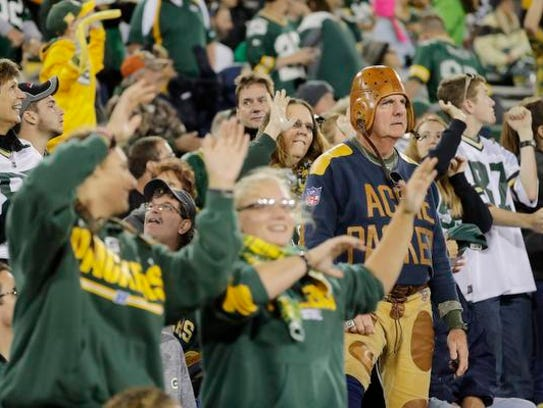 """Packers fans """"Jump Around"""" during the 4th quarter on"""