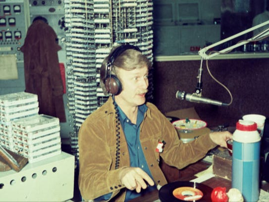 Bill Bailey at the mic in December 1973. He was known as the Duke of Louisville and his acerbic commentary made him the city's most popular DJ. He joined WAKY in 1970.