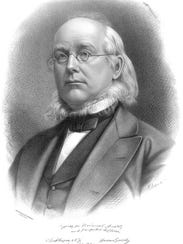 Horace Greeley with his chin whiskers or neck beard