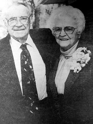 At 90, Tom and Geneva Boguns were married for 12 years. This photograph was taken on their 10th wedding anniversary.