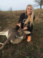 She also enjoys hunting. She got this 9-point buck