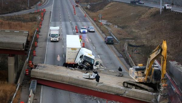 The Interstate 75 south bridge was 30 minutes away from demolition when it collapsed Monday night. A construction worker for the contractor was killed and the driver of a semi truck was injured.