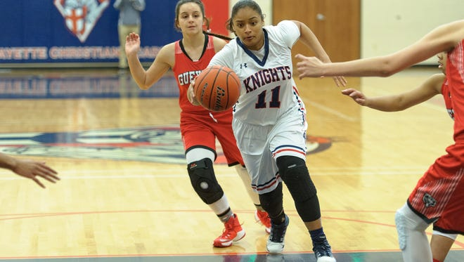 Janue Duffy drives to the basket as LCA takes on Gueydan in girls basketball. Friday, Feb. 3, 2017.