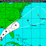 A NOAA map shows a combination of forecasts that predict this system will soon turn to the east.
