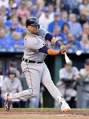 Detroit Tigers designated hitter Victor Martinez connects on his second home run of the game off Kansas City Royals starting pitcher Danny Duffy in the fourth inning on Thursday, June 16, 2016, at Kauffman Stadium in Kansas City, Mo. (John Sleezer/Kansas City Star/TNS)