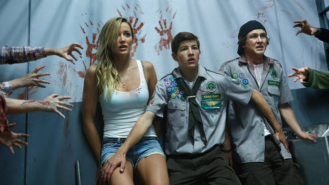 """Sarah Dumont plays Denise, Tye Sheridan plays Ben and Logan Miller plays Carterin in """"Scouts Guide to the Zombie Apocalypse."""""""