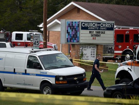 Emergency vehicles surround Burnette Chapel Church