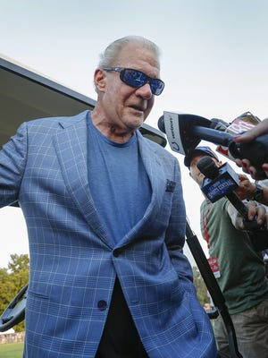 Indianapolis Colts owner Jim Irsay talks to the media following their eighth day of training camp at Grand Park in Westfield on Friday, August 3, 2018.