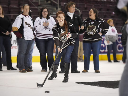 Harrisburg native Meg Wade participates for the 3rd year in the Hershey Bears Hockey in Heels event. The Hershey Bears Hockey Team held the 3rd Annual Hockey & Heels event  at the Giant Center on Thursday,  Jan. 15, hosting approximately 200 women who wanted to learn more about the game. Participants had the opportunity to practice on ice passing, shooting, locker room tours, an alumni session, and dinner with drinks.