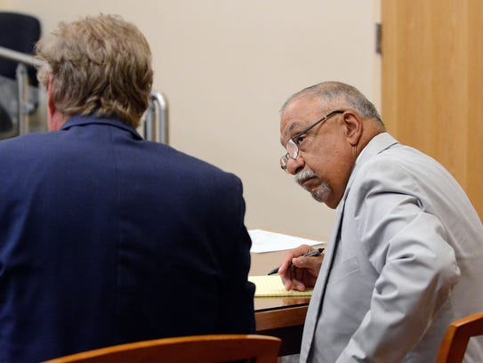 Former Sen. Phil Griego looks to his attorney Thomas