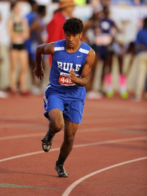 Rule's Chase Thompson takes off at the start of the Class 1A boys 400-meter during the UIL State Track and Field Championships on  May 12 at Mike A. Myers Stadium in Austin.