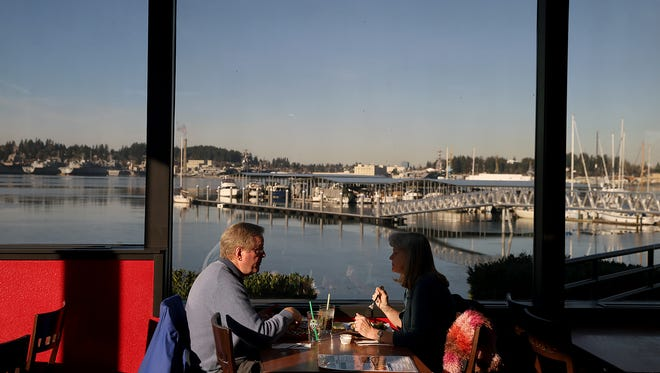 Craig and Anita Baldwin, of Gig Harbor, have lunch at the new Cheers Bar & Grill on Bay Street in Port Orchard. The dining area has large picture windows with water views.
