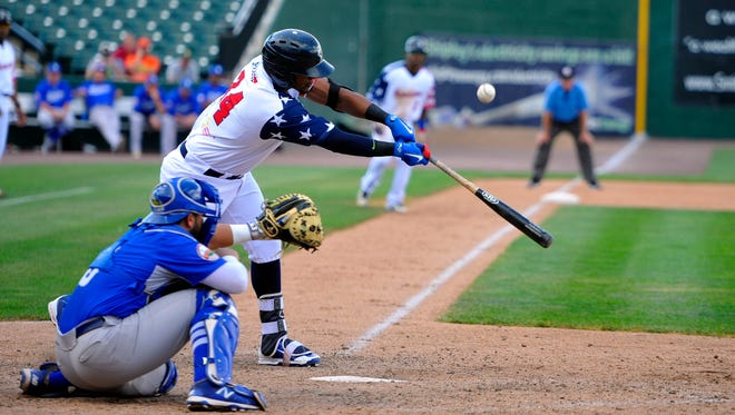 York's Carlos Triunfel, seen here in action from earlier this season, launched a grand slam in the first inning during Sunday's win over New Britain, part of a record-tying six-run first inning for the Revolution.