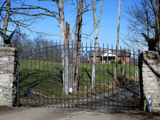 Tim Nolan's drive way is gated with a chain and lock,