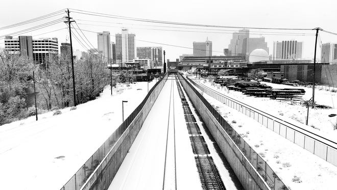 Railroad tracks on the way into Reno.