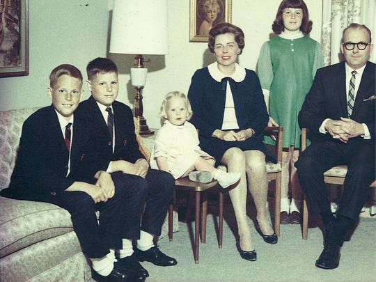 A Gilles family portrait from the 1960s. From left are Jim, John, Chris, Mary, Doris, Joanne and Tom Gilles.