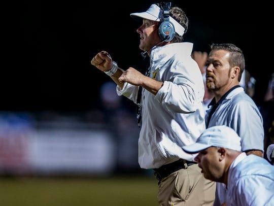 Autauga Academy coach Bobby Carr against Escambia Academy