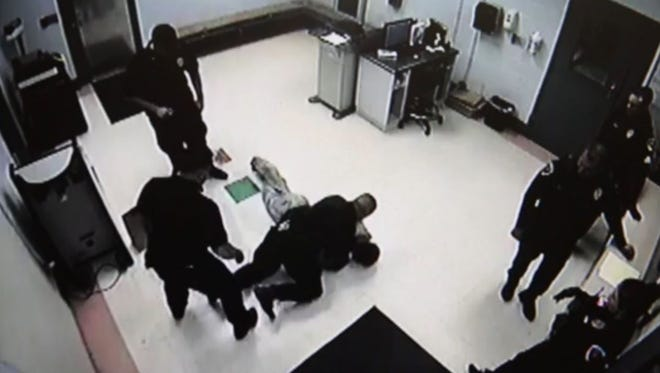 Surveillance video shows a Doña Ana County Detention Center detainee, Timothy Black, being thrown to the ground by a detention center officer on Nov. 27.