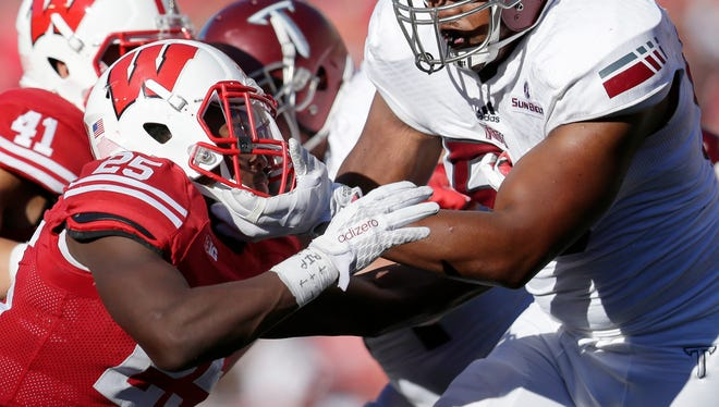 Wisconsin cornerback Derrick Tindal was ejected for targeting during last season's game against Troy.