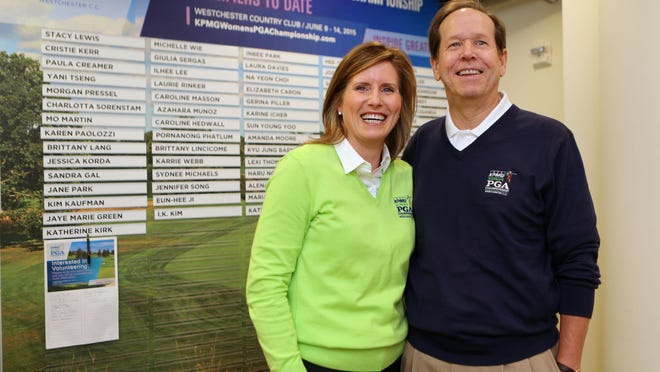 Mary Ann Sullivan and Peter Knobloch are the co-chairs for the upcoming KPMG Women's PGA Championship at the Westchester Country Club in Rye. Here they are pictured at the club, April 14, 2015.