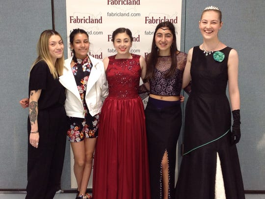 Four young fashion designers won first prize in their age group at the 11th Annual Project Fabricland Fashion Show. From left: Helen Castillo, Project Runway All-Stars; Evana Fahmy 13, of Watchung; Kaylee Spiteri, 17, of Green Brook; Arianna Minassian 16, of the Basking Ridge section of Bernards; and Felicity Anderson-Moore, 18, of Chatham.