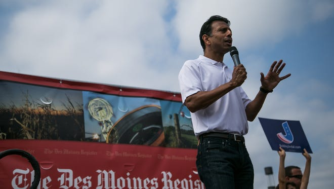 Republican presidential hopeful Gov. Bobby Jindal speaks on the Des Moines Register Soap Box during the Iowa State Fair on Saturday, August 22, 2015.
