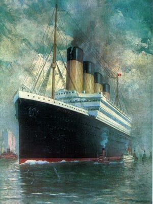 This painting shows the Titanic in all its newly built glory.