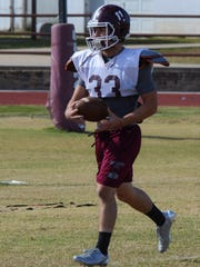 Senior running back Anthony Rangel, seen here during practice at De Leon on Nov. 22, 2017, has been an unexpected boon to the Bearcat offense.