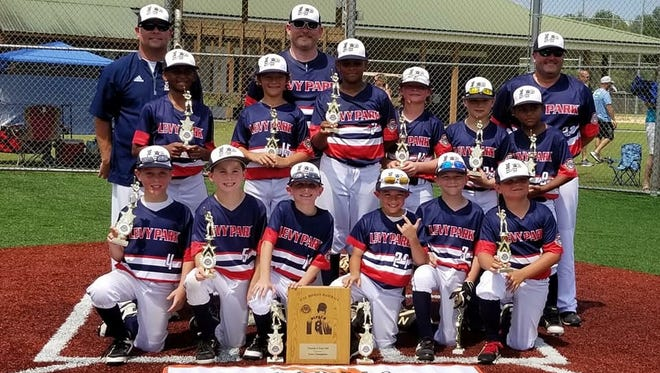 The Levy Park 9U all-star team won the Cal Ripken State Championship on Monday in Live Oak, advancing them to the regional tournament in North Carolina. The Levy Park 9U all-star team won the Cal Ripken State Championship on Monday in Live Oak, advancing them to the regional tournament in North Carolina. Front row, L-R: Preston Richie, Tucker Poppell, Parker Ritchie, Maddox Siebenaler, J.R. Thompson, E.N. Bass; Back row, L-R: Chase Fuller, Ryder Miller, Jayson Parker, Henry Richardson, Wilson Wooten, Nick Jerry; Coaches, L-R: Jason Ritchie, Jason Poppell, Richard Wooten.